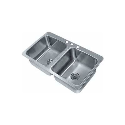 Advance Tabco® Smart Series Drop In Sink, Two Compartment 20L x 16W x 12D Bowl, 18 Gauge