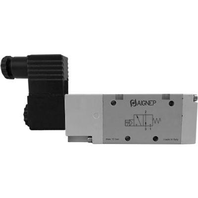 Aignep USA 3/2 Closed Single Solenoid Valve, Ext Pilot G 1/4, 24V DC/3W Coil, Black Connection