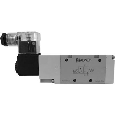 Aignep USA 3/2 Open Single Solenoid Valve, Ext Pilot 1/8 NPTF, 12V DC/3W Coil, LED Connection