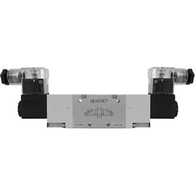 Aignep USA 5/3 Dbl Solenoid Vlv, Ext Pilot, Open Cntr, Spr Cntred, 1/4 NPTF, 110V AC/5VA Coil, LED