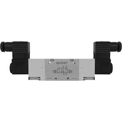 Aignep USA 5/2 Double Solenoid Valve, Ext Pilot 1/8 NPTF, 110V AC/5VA Coil, Black Connection