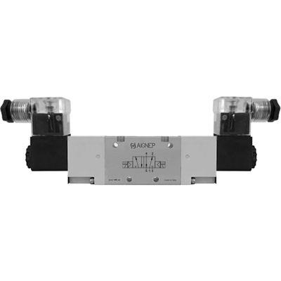 Aignep USA 5/2 Double Solenoid Valve, Ext Pilot 1/4 NPTF, 24V DC/2W Coil, LED Connection