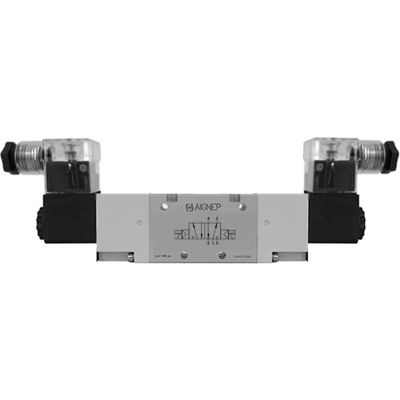 Aignep USA 5/2 Double Solenoid Valve, Ext Pilot 1/4 NPTF, 24V AC/5VA Coil, LED Connection