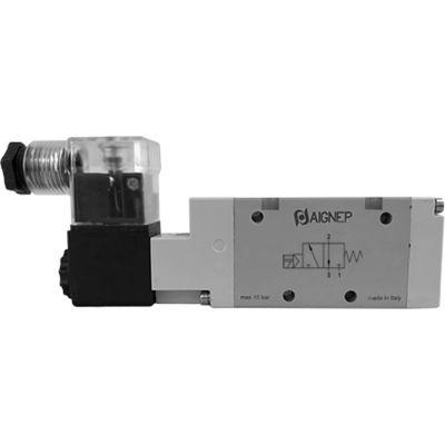 Aignep USA 3/2 Open Single Solenoid Valve, Pilot/Spr Return 1/4 NPTF, 24V DC/3W Coil, LED Connection