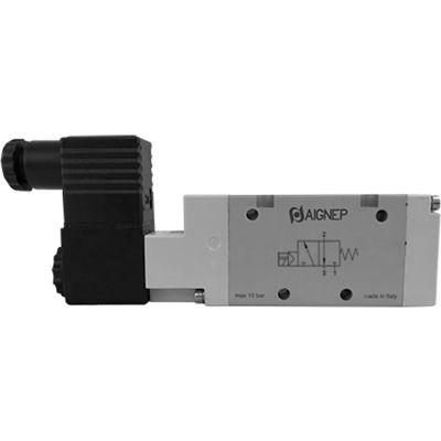 Aignep USA 3/2 Open Single Solenoid Valve, Pilot/Spr Return 1/2 NPTF, 24V DC/3W Coil, Blk Connection