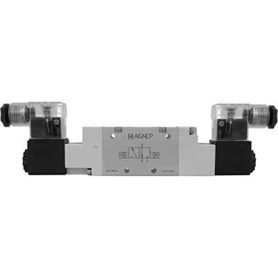 Aignep USA 3/2, G 1/8 Double Solenoid Valve, Pilot, 24V DC/2W Coil, LED Connection