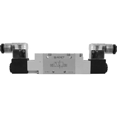 Aignep USA 3/2, 1/8 NPT Double Solenoid Valve, Pilot, 24V DC/2W Coil, LED Connection