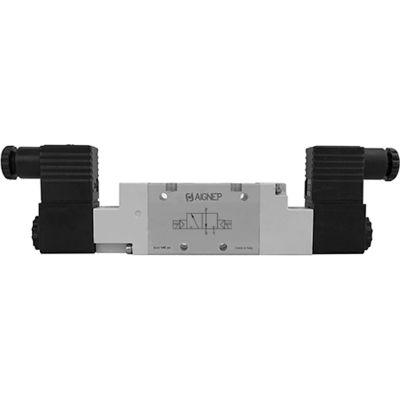 Aignep USA 3/2, 1/2 NPT Double Solenoid Valve, Pilot, 12V DC/3W Coil, Black Connection