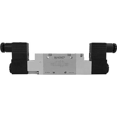 Aignep USA 5/2 Double Solenoid Valve, Pilot 1/8 NPTF, 24V DC/3W Coil, Black Connection