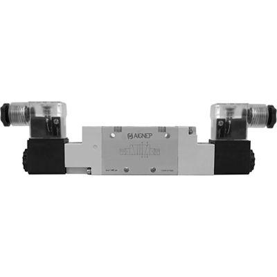 Aignep USA 5/2 Double Solenoid Valve, Pilot 1/4 NPTF, 220V AC/5VA Coil, LED Connection