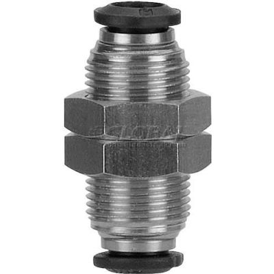 AIGNEP Bulkhead Union 50050N-6, 6mm Tube x 6mm Thread - Pkg Qty 5