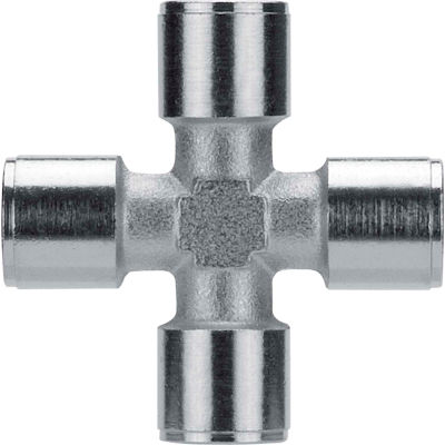 "AIGNEP Female Cross, 82620N-04, 1/4"" NPTF, Nickel Plated Brass - Pkg Qty 5"