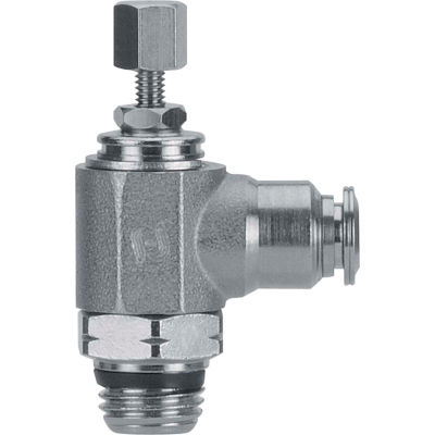 "AIGNEP Needle Valve, 89978-04-04, Knob Adj., 1/4"" Tube x 1/4"" Swift-Fit, Metallic Collet"