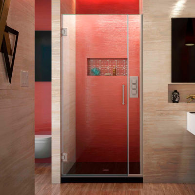 "Dreamline SHDR-243457210-04 Unidoor Plus Hinged Shower Door, Brushed Nickel, 34-1/2 to 35"" x 72"""