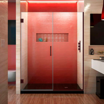 "Dreamline SHDR-245507210-06 Unidoor Plus Hinged Shower Door, Bronze, 55 to 55-1/2"" x 72"""