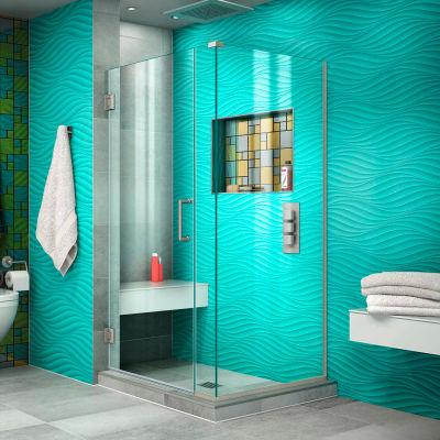 "Dreamline SHEN-24295300-04 Unidoor Plus Hinged Shower Enclosure, Nickel, 29-1/2"" x 30-3/8"" x 72"""