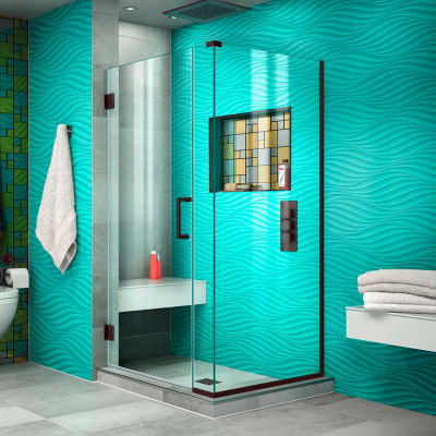 "Dreamline SHEN-24330340-06 Unidoor Plus Hinged Shower Enclosure, Bronze, 33"" x 34-3/8"" x 72"""