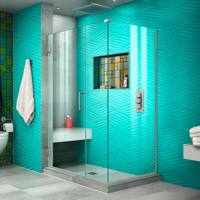 "Dreamline SHEN-24380340-04 Unidoor Plus Hinged Shower Enclosure, Brushed Nickel, 38"" x 34-3/8"" x 72"""