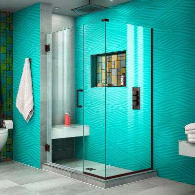 "Dreamline SHEN-24395340-06 Unidoor Plus Hinged Shower Enclosure, Bronze, 39-1/2"" x 34-3/8"" x 72"""