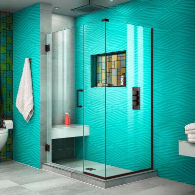 "Dreamline SHEN-24435300-06 Unidoor Plus Hinged Shower Enclosure, Bronze, 43-1/2"" x 30-3/8"" x 72"""
