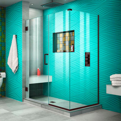 "Dreamline SHEN-24460300-06 Unidoor Plus Hinged Shower Enclosure, Bronze, 46"" x 30-3/8"" x 72"""