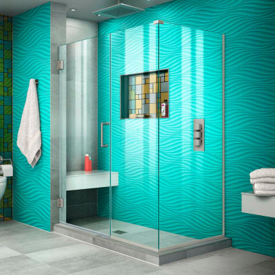 "Dreamline SHEN-24490300-04 Unidoor Plus Hinged Shower Enclosure, Brushed Nickel, 49"" x 30-3/8"" x 72"""