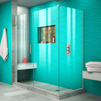"Dreamline SHEN-24555340-04 Unidoor Plus Hinged Shower Enclosure, Nickel, 55-1/2"" x 34-3/8"" x 72"""
