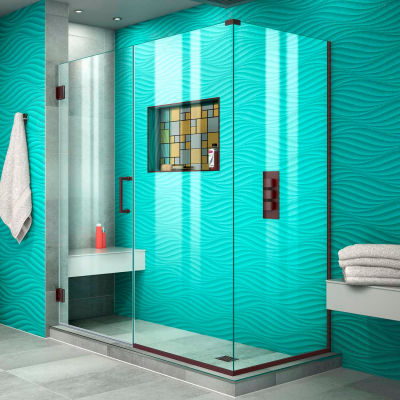 "Dreamline SHEN-24565300-06 Unidoor Plus Hinged Shower Enclosure, Bronze, 56-1/2"" x 30-3/8"" x 72"""