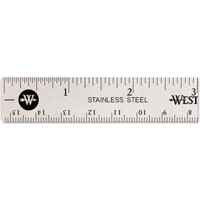 "Westcott® Stainless Steel Ruler with Non Slip Cork Base, 6"" Long, 1 Each"