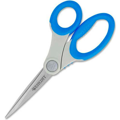 """Westcott® Soft Handle Scissors with Microban® Protection, 8""""L Straight, Blue"""