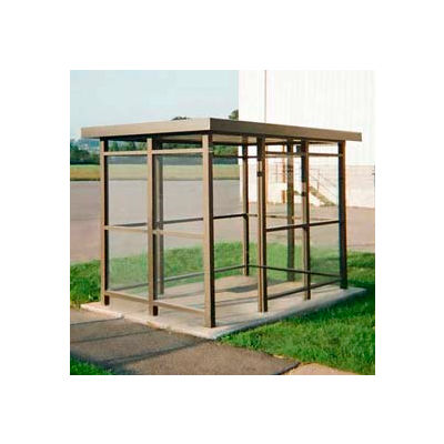 Heavy Duty Bus Smoking Shelter Flat Roof 3-Sided Front Open 5' x 10' White
