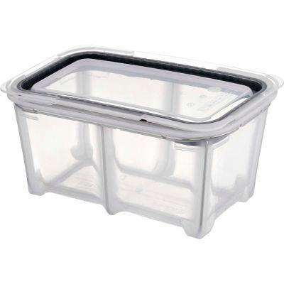 Araven 01803 - Food Storage Container W/Lid, Silicone, 5.6 Qt., 1/3 Size, Translucent - Pkg Qty 4