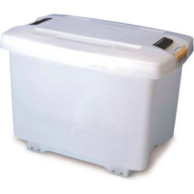 Araven 01870 - Food-Bac Transport Container W/Lid, HDPE, 73.9 Qt., W/ Wheels, White - Pkg Qty 4