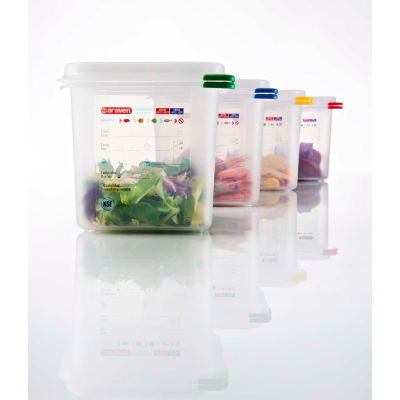 Araven 03020 - Food Container, Airtight, W/Lid, PP, 0.6 Qt., 1/9 Size, Colorclip®, Transparent - Pkg Qty 6