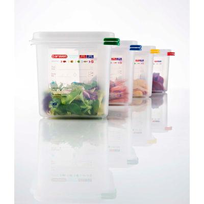 Araven 03025 - Food Container, Airtight, W/Lid, PP, 2.7 Qt., 1/6 Size, Colorclip®, Transparent - Pkg Qty 6