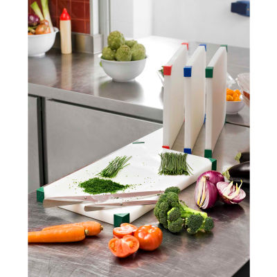 "Araven 08103 - Cutting Board, Non-Slip, HDPE, 12""W x 8-1/8""D x 3/4""H, White With Assorted Colors - Pkg Qty 6"