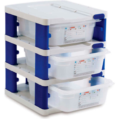 Araven 18237 - Food Storage Container Tower, PP, Holds (3) 1/2 Size Containers, White & Blue