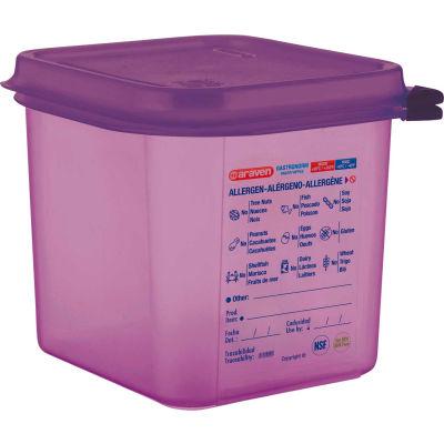Araven 61390 - Food Container, Anti-Allergen, W/Lid, Polypropylene, 2.7 Qt., 1/6 Size, Purple - Pkg Qty 6