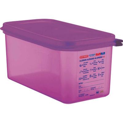 Araven 61393 - Food Container, Anti-Allergen, W/Lid, Polypropylene, 6.3 Qt., 1/3 Size, Purple - Pkg Qty 6