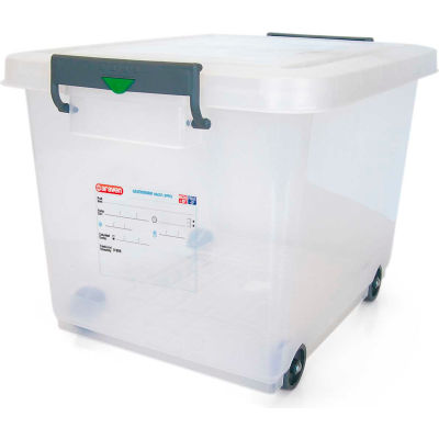 Araven 91183 - Food Storage Container W/Lid, HDPE, 63.4 Qt., Stackable, Transparent - Pkg Qty 4