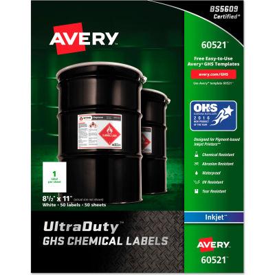 Avery® Full-Sheet GHS Chemical Waterproof & UV Resistent Labels, Inkjet, Letter, 50/Pack