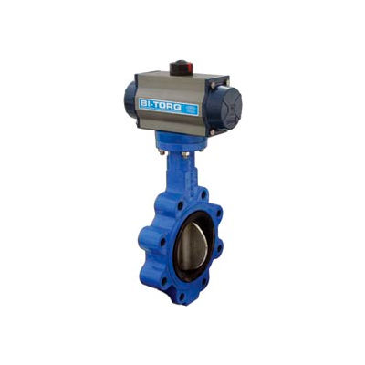 """BI-TORQ 4"""" Wafer Style Butterfly Valve W/ Viton Seals and Spring Return Pneum. Actuator"""