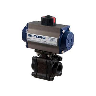 """BI-TORQ 1-1/2"""" 3-Pc WCB/SS NPT Fire Safe Ball Valve W/Spring Ret. Pneum. Actuator"""