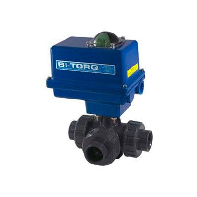 """BI-TORQ 1-1/4"""" 3-Way L-Port PVC Ball Valve W/ NEMA 4 115VAC/4-20mA Positioner"""
