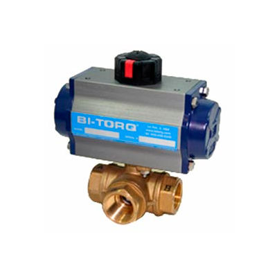 "BI-TORQ 3/8"" 3-Way L-Port Brass NPT Ball Valve W/Spring Ret. Pneum. Actuator"