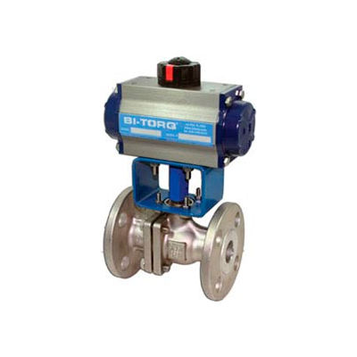 "BI-TORQ 2-1/2"" SS Split Body ANSI 150# Flanged Ball Valve W/Dbl. Acting Pneum. Actuator"