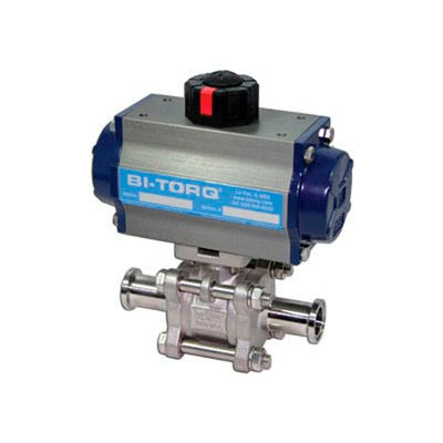 "BI-TORQ 2"" 3-Pc SS Sanitary Clamp End Ball Valve W/Dbl. Acting Pneum. Actuator"