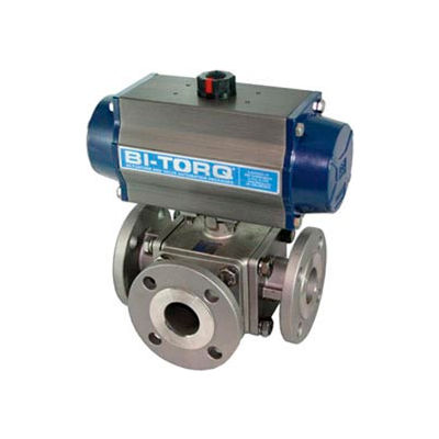 "BI-TORQ 2-1/2"" 3-Way L-Port SS 150# Flanged Ball Valve W/Dbl. Acting Pneum. Actuator"