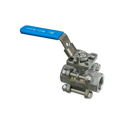 "1/2"" 3-Pc SS NPT Ball Valve With Manual Locking Handle"