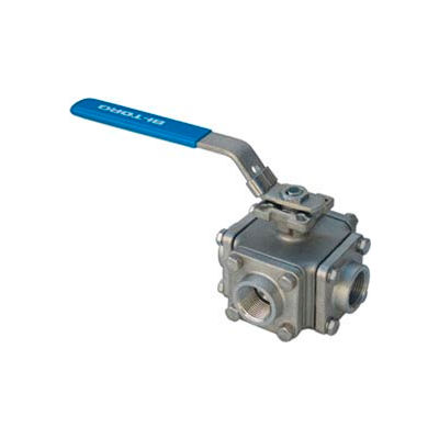 """1"""" 3-Way L-Port SS NPT Threaded Ball Valve With Lockable Lever Handle"""